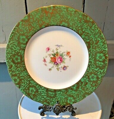 Antique Minton Bone China Green Gilt Floral Cabinet Charger Display Plate 27cm • 24.99£