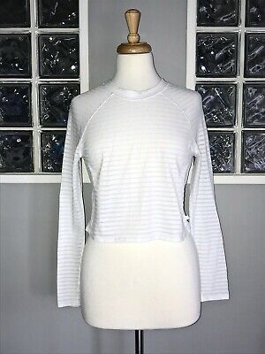 $ CDN45 • Buy LULULEMON UNCOVERED LONG SLEEVE 6 CROPPED LS WHITE STRIPE VGUC To And From