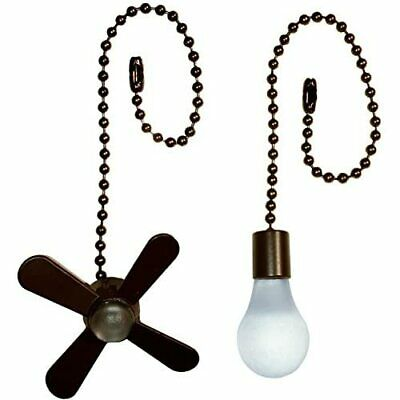 $11.39 • Buy Ceiling Fan Metal Pull Chain Set Lighting Parts Lamps Fans Brushed Bronze 6-Inch