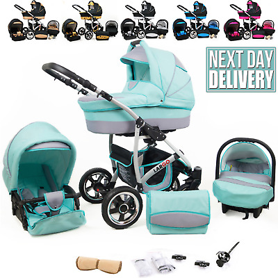 View Details Baby Pram Buggy Car Seat 3 In 1 Travel System Pushchair Stroller New-born  • 298.00£