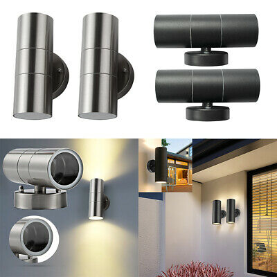 2x Stainless Steel Up Down Wall Light Lamp Double Outdoor Wall Lantern IP54 • 18.50£
