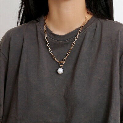 £5.99 • Buy Long Statement Sweater Gold Toggle Faux Pearl Necklace Through Fashion Bridal