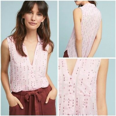 $ CDN60.93 • Buy Conversations By Anthropologie Pink Blouse Ants 8 Of 52 Colloquial Sleeveless S
