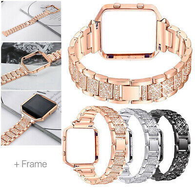AU17.64 • Buy For Fitbit Blaze Stainless Steel Diamond Bracelet Watch Band Strap With Frame