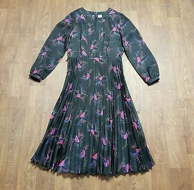 AU71.31 • Buy Original 70s Vintage Galaxy Print Pleated Midi Dress UK Size 14 Vintage Clothing