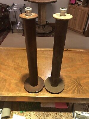 $13 • Buy 2 Two Extra Large Vintage Wooden Thread Spools, Antique Bobbins Spindles Cones