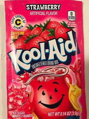 32 Kool Aid Drink Mix * STRAWBERRY Powdered New! Citrus Popsicle Flavor Summer • 9.26£