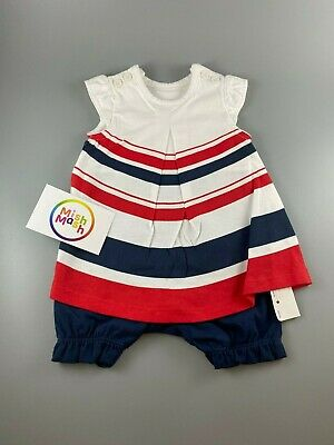 £5.99 • Buy Baby Girls Mothercare Stripe Smock Summer Romper All In One Dress Shorts Outfit