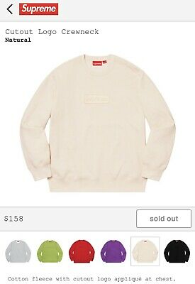 $ CDN370.68 • Buy Supreme Cutout Logo Crewneck / Size L / Natural / Box Logo