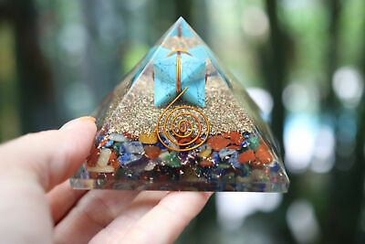 Turquoise Merkabah 7 Chakra Orgone Pyramid LG 3in 75mm For EMF & 5G Protection • 13.01£