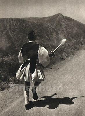 1936 Vintage OLYMPIC Greek Costume Torch Relay Runner PAUL WOLFF Photo Art 11X14 • 104.29£