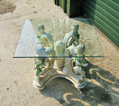 Vintage Italian Carved Wood Dragon Glass Topped Coffee Table, (painting Project) • 100£