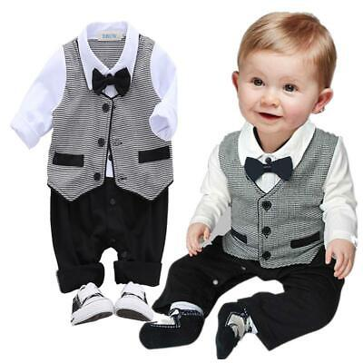 £11.29 • Buy Baby Boy Wedding Christening Bow Tie Formal Tuxedo Romper Outfit