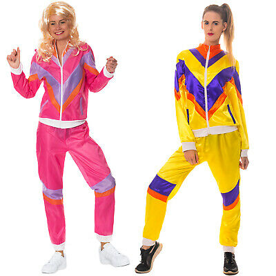 80s Shell Suit Costume Scouser Tracksuit Womens Adult Ladies Fancy Dress Outfit • 12.99£