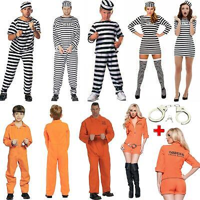 Unisex Adult & Kids Jailed Prisoner Cosplay Fancy Dress Costume Lot • 10.99£