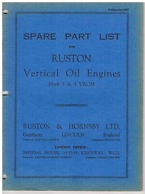 £7 • Buy Ruston & Hornsby  VROM Marine Oil Engines - Parts List