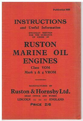 £9 • Buy Ruston & Hornsby  VROM Marine Oil Engines - Instruction Book