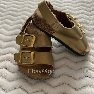$10.95 • Buy Kali Girls Toddler Gold Open Toe Buckle Double Ankle Strap Sandals Sz 3