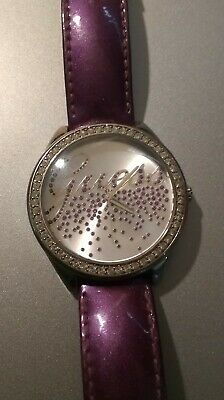 $ CDN20.30 • Buy Women's Guess Purple Leather Strap Diamonds Ruby's Watch