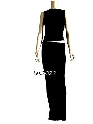 $4499 • Buy Gucci Tom Ford 1998 Black Jersey Two Piece Full Length Runway Evening Dress 40