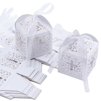 Wedding Favor Candy Boxes Sweets Giveaway Gift For Guest Christening With Ribbon • 11.99£