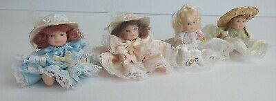 $ CDN20.29 • Buy Mini Porcelain Dolls Lot Of 4 Blue Pink White Green B2