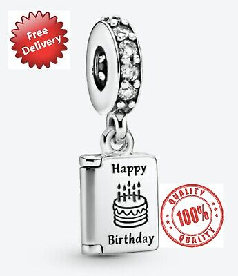 Pandora Sterling Silver Happy Birthday Card Dangle Charm S925 ALE **FREE POUCH** • 16£