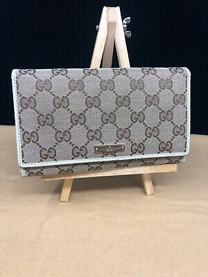 $329 • Buy GG089 GUCCI GG Canvas White Leather Long Continental Bifold Wallet