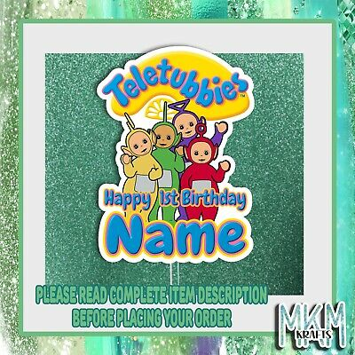 £4.99 • Buy Teletubbies Personalised  STAND UP Card Cake Topper HAPPY BIRTHDAY ANY NAME New