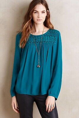 $ CDN27.20 • Buy Anthropologie Meadow Rue Womens Blouse Vivie Swiss Dot Keyhole Teal Green Sz. 8