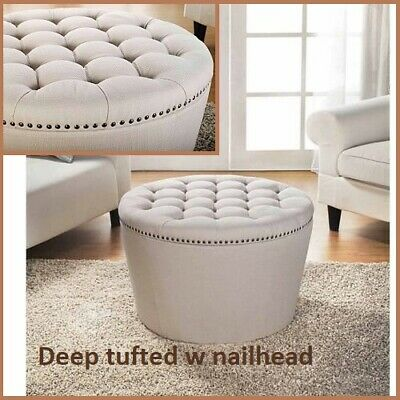 $188.62 • Buy Cream Storage Ottoman Table Coffee Large Round Ottomans Tufted Linen Upholstery