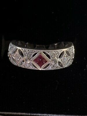 $395 • Buy Diamond And Ruby Ring - Natural Diamonds - Solid 18k Gold - Size 7
