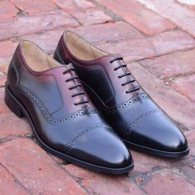 Formal Men Dress Shoes Oxford Two Tone Handmade Calf Leather Brogue Lace Up • 129.99£
