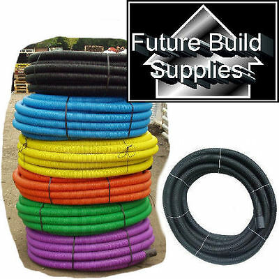 2 X 63MM X 50M RIDGICOIL BLACK ELECTRICAL FLEXIBLE CABLE DUCTING NEW • 175.95£