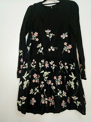 AU46.78 • Buy Forever New Black Floral Embroidered Dress Sz6