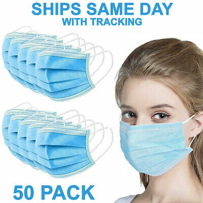 $23.99 • Buy [50 Pcs] 3-Ply Disposable Face Mask Medical Surgical Dental Earloop Mouth Cover