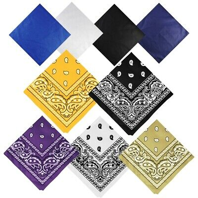 AU5.67 • Buy Paisley Plain Bandanna Head Scarf Wrist Neck Tie Face Wrap Mask Cotton Bandana