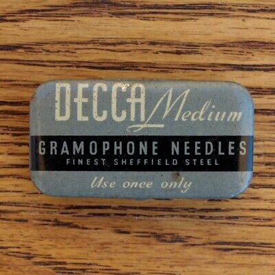 Vintage Tin Of Decca Medium Sheffield Steel Gramophone Needles - 206 Needles • 16.99£