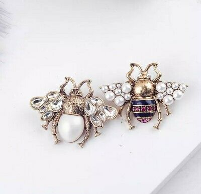 £4.50 • Buy Bumble Bee Vintage Style Large Crystal Pearl Pin Brooch UK Seller Gift