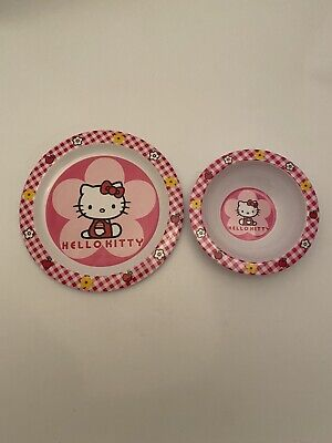 Hello Kitty Sanrio Pink Gingham Plastic Dinner Side Plate Soup Salad Pasta Bowl • 14.99£