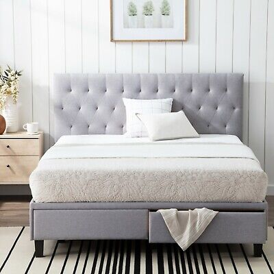 $549.99 • Buy Brookside Anna Upholstered Storage Bed With Two Drawers - Two Color Options