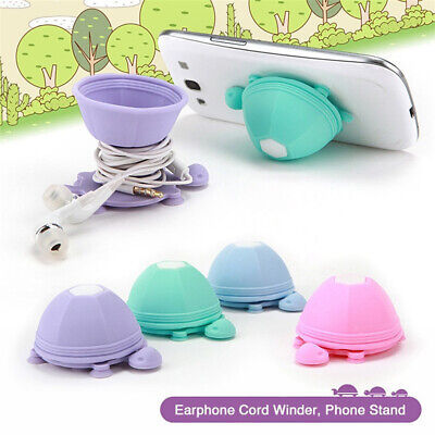 $6.19 • Buy Cute Turtle Desktop Earphone Cable Cord Organizer Wire Winder Phone Stand Holder