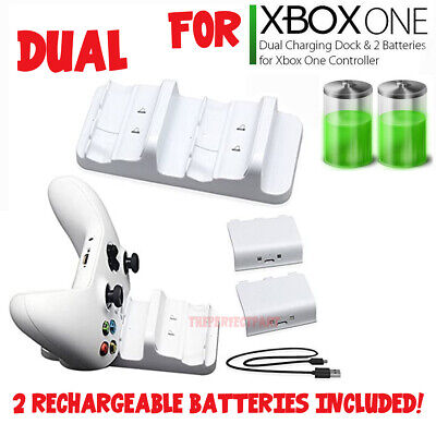 $13.29 • Buy For XBOX ONE Controller Dual Charging Dock Station Charger White + 2 Battery USA