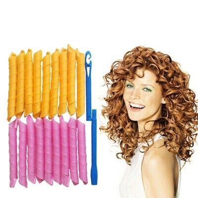 18/40Pcs Magic Hair Curlers Styling Tool Curl Former Waves Twist  With Hook DIY • 8.39£