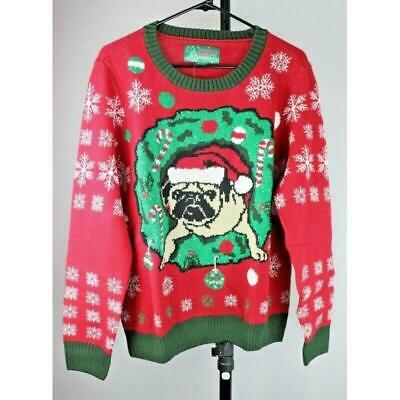 $26.97 • Buy Ugly Christmas Sweater: Pug Puppy Dog In Wreath - Size Large