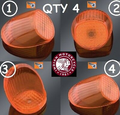 $19.99 • Buy 4 Indian Motorcycle Gilroy Turn Signal Tail Amber Light Lens Chief Scout Spirit