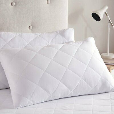 2 Pack- Luxury Pillows Quilted Ultra Loft Jumbo Super Bounce Back Bed Pillows • 8.88£