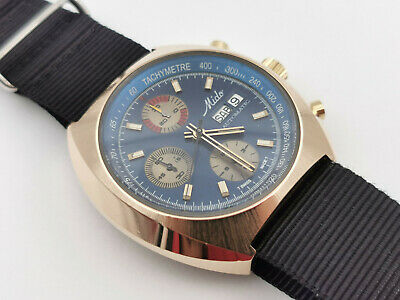 $ CDN1255.04 • Buy Vintage MIDO Automatic Blue Chronograph Day/Date Gold Plaque - Cal 7750 - 43 Mm