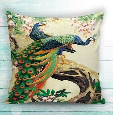 Peacock Print Cushion Cover • 12.99£