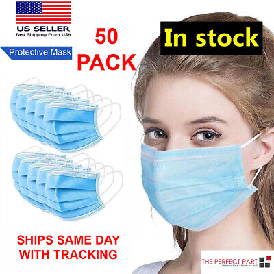 $34.45 • Buy 50 PCS Face Mask Medical Surgical Dental Disposable 3-PLY Earloop Mouth Cover